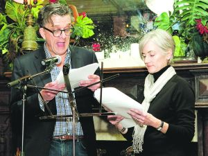 Kurt Andersen and Anne Kreamer, as the Lunts of the lit set. (Photo courtesy of Mark Iantosca, courtesy of The New Inquiry)