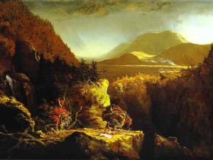 """""""Landscape with Figures: A Scene from 'The Last of the Mohicans'"""" by Thomas Cole (1826) (of the Terra Foundation)"""