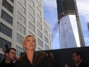 One World Trade Center, with French Presidential Candidate Marine Le Pen in the foreground (photo courtesy of Getty Images)