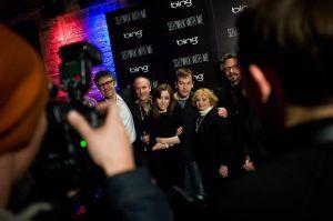 Ira Glass and Mike Birbiglia pose at The Bing Bar