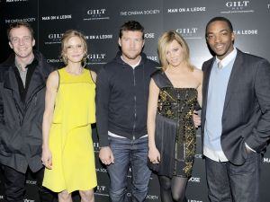 (L-R) Director Asger Leth with stars Kyra Sedgwick, Sam Worthington, Elizabeth Banks and Anthony Mackie