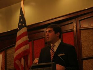 State Senate candidate Andrew Gounardes, at a fundraiser