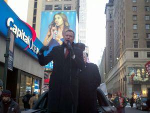 Bill de Blasio speaks at the CWA rally.