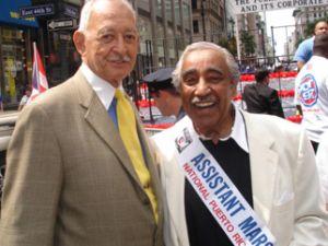 "Assemblyman Herman ""Denny"" Farrell and Congressman Charlie Rangel together at the 2010 Puerto Rican Day Parade. (Photo: DennyFarrell2012.com)"