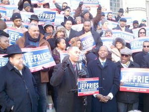 Hakeem Jeffries in front of Brooklyn Borough Hall
