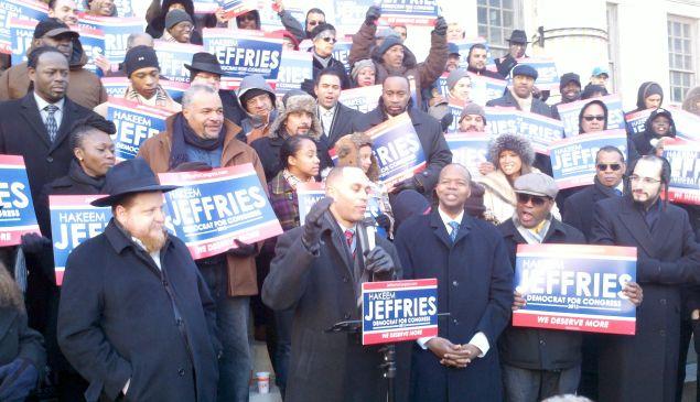 Hakeem Jeffries in front of Brooklyn Borough Hall