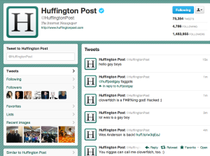 Screengrab of compromised HuffPo account