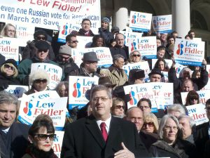 Lew Fidler on the steps of City Hall.