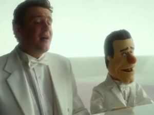 "Jason Segel and his Muppet alter-ego in ""Man or Muppet"""