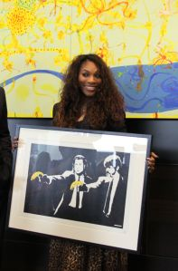 "Serena Williams with Banksy's ""Pulp Fiction"" (StealBanksy.com.au)"