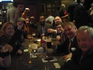 Occupiers and conservatives hanging out at Harry's Pub. (Photo: Hunter Walker)