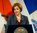 Christine Quinn gave her State of the City address today. (Photo: NY1)