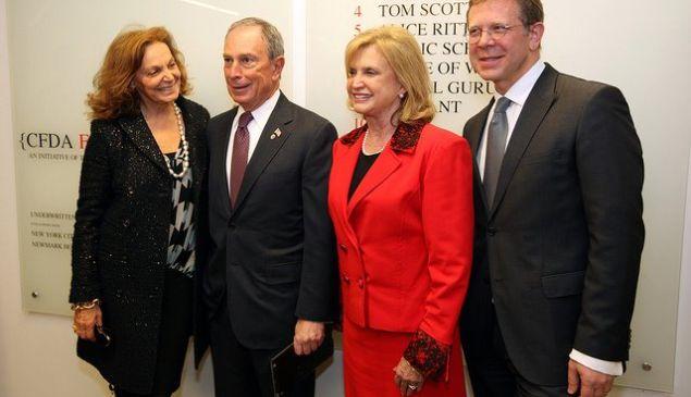 Diane von Fürstenberg, Mayor Bloomberg and Congresswoman Carolyn Maloney pose for a photo. (Photo: Facebook)