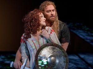 "Deborah Voigt as Brünnhilde and Jay Hunter Morris as Siegfried in Wagner's ""Götterdämmerung."" Photo by Ken Howard. Courtesy Metropolitan Opera"