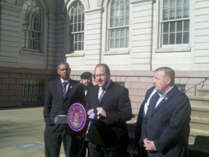David Greenfield speaking at the press conference.