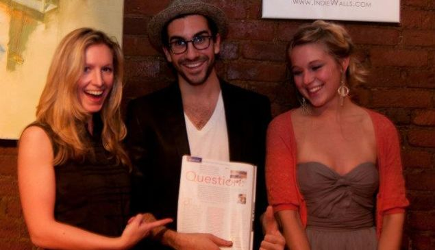 Indiewalls curator Sabrina Wirth and cofounder Ari Grazi with artist Marysia Schultz