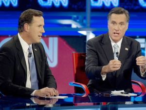 Rick Santorum and Mitt Romney at the debate in Arizona. (Photo: Getty)