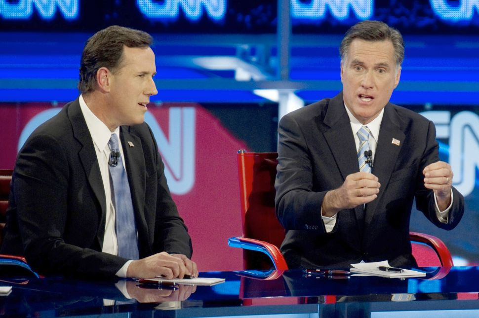 Romney And Santorum Blame Each Other For 'Obamacare'