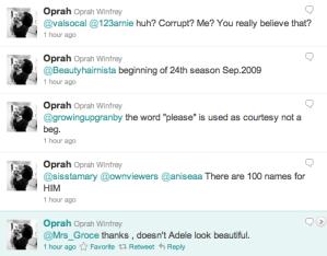@oprah, Tweeting up a storm.