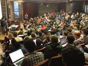 The team presenting cLoudspeaker at NYU's Courant Institute. (via Kaushal Parikh)