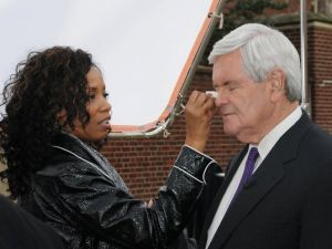 It takes work to look as good as Newt Gingrich. Here he is getting his makeup touched up before an appearance last April.