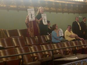 The hospital protesters in the gallery at the City Council chambers yesterday.