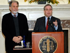 NYU's John Sexton and the Beep. Whose side is he on? (NYU)
