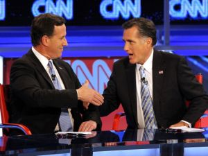 Rick Santorum and Mitt Romney at a presidential debate in Arizona in February. (Photo: Getty)