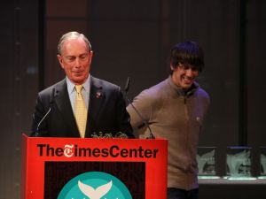 Mayor Michael Bloomberg with Foursquare cofounder Dennis Crowley. The mayor declared April 16 NYC's official 4sqday. (Ben Weitzenkorn)