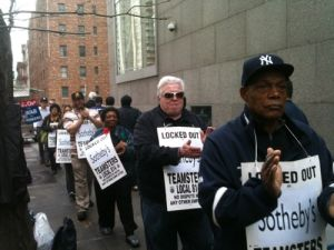Tuesday morning's rally outside Sotheby's