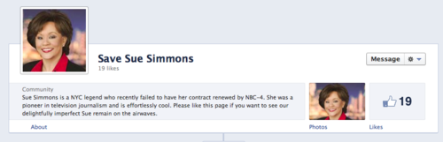 Save Sue Simmons: The Internet Campaign Begins