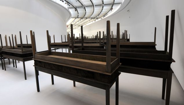 """""""Plegaria Muda"""" by Colombian artist Doris Salcedo at the Maxxi museum on March 14, 2012. (Courtesy Getty Images)"""
