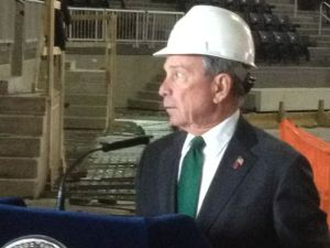 Mayor Bloomberg speaking at the Barclays Center construction site.
