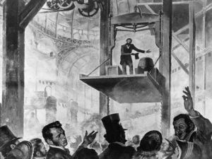 Elisha Otis demonstrating his first elevator. How much has changed?