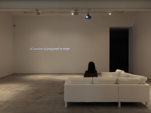 "Frances Stark, ""Osservate, leggete con me,"" 2012. Three-channel digital video for projection, black and white with sound, 29:34 minutes. (Photo by Thomas Mueller/Gavin Brown's Enterprise)"