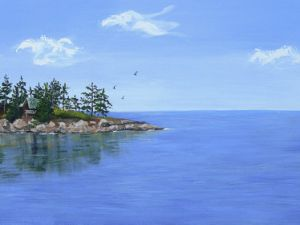 A painting of Galiano Island, where Mr. Bryant will be working, for sale on Etsy. (etsy.com)