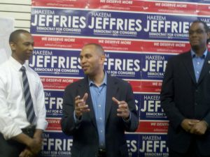 Hakeem Jeffries addressing the crowd at his new headquarters.
