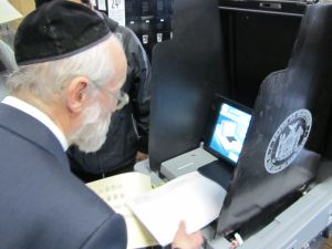 Nachman Caller voting last Tuesday. (Photo: Caller campaign)