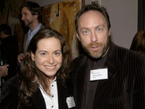 Kate Lee with Wikipedia founder Jimmy Wales (Patrick McMullan)