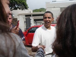 President Obama visiting his high school in Hawaii in 2008. (Photo: Getty)