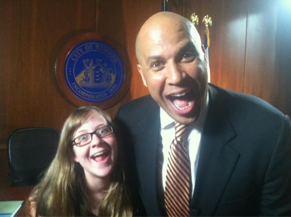 Cory Booker Bugs Out With a Young Supporter