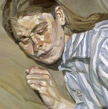 "Lucian Freud, ""Girl in a Striped Nightdress,"" 1983-85. (Courtesy Tate)"