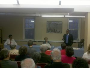 The scene from yesterday's candidate forum.