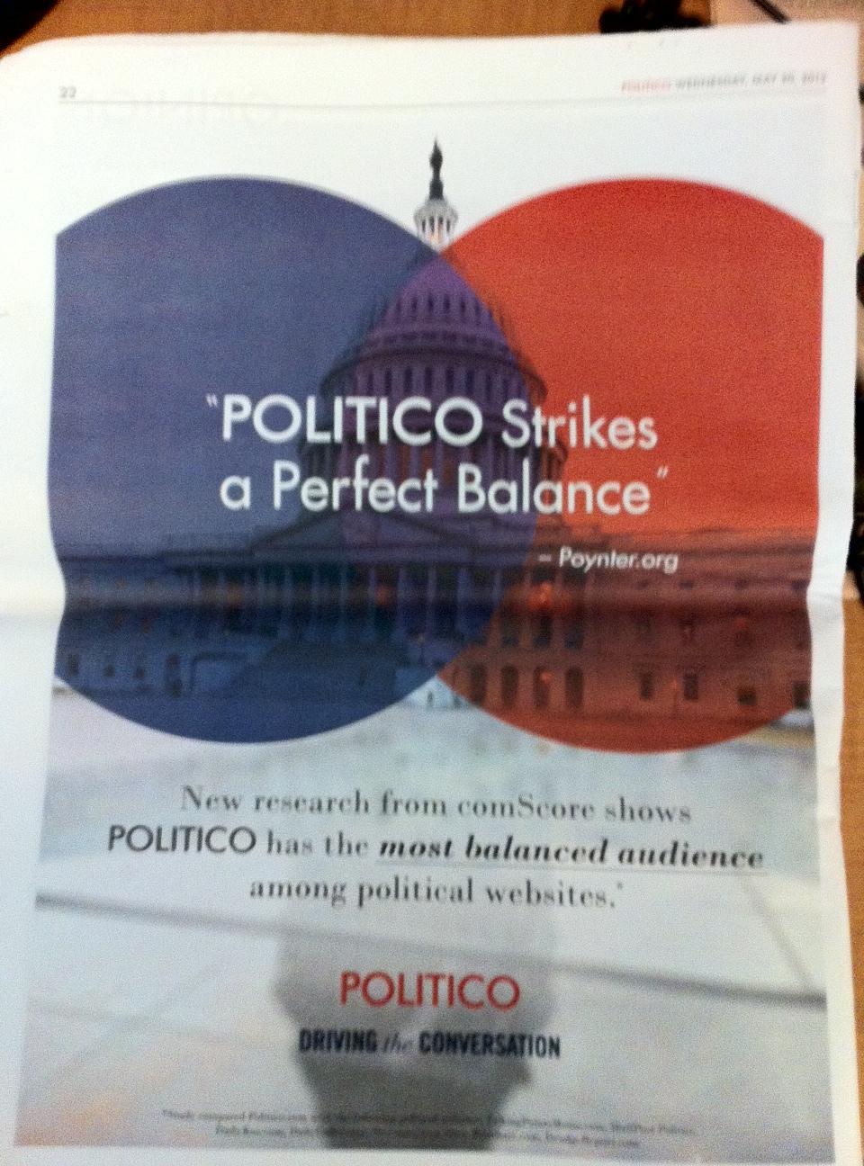 Politico Ad and Politico Article Agree: Politico Is 'Most Balanced' Political News Source