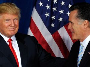 Donald Trump giving Mitt Romney his endorsement back in February. (Photo: Getty Images)