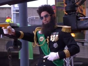 Sacha Baron Cohen at 'The Dictator' premiere (YouTube)