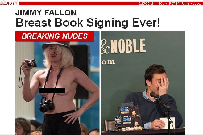Topless Paparazzo Strikes Again! Not Even Jimmy Fallon Immune to Confusing Breast/Mustache Combo