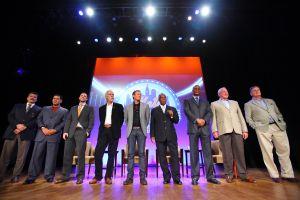 From left to right: Keith Hernandez, Edgardo Alfonzo, David Wright, Hank McGraw, Mark McGraw, Cleon Jones, Darryl Strawberry, Jerry Koosman and Tom Seaver. (Photo: Andrew F. Johnston)