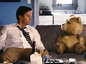 Wahlberg and Ted (voiced by MacFarlane) in Ted.