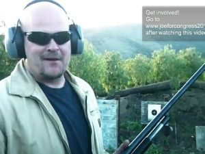 """Joe The Plumber"" with his shotgun in his web video. (Photo: YouTube)"